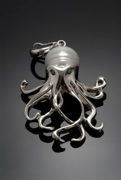 Sterling silver Octopus pendant/enhancer w/pearl by SauveJewelry