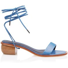 Tibi Astrid Sandals (4.786.975 IDR) ❤ liked on Polyvore featuring shoes, sandals, cornflower blue, genuine leather shoes, ankle strap shoes, ankle tie shoes, leather sandals and tibi shoes