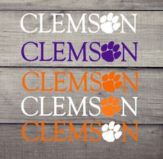 Clemson with Paw Decal. Can be used indoors or out by SCSassySouthernBelle on Etsy Yeti Decals, Vinyl Decals, Clemson Tiger Paw, Grad Gifts, Teacher Gifts, Coffee Bar Signs, Thing 1, Monogram Decal