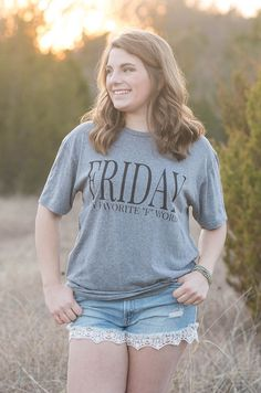 August Bleu Friday Tee • $34 • Groovys.com • gray friday t-shirt, friday my favorite f word, short sleeve tri-blend