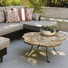 Petrified Wood Outdoor Coffee Table, Patio Furniture - traditional - Originals And Limited Editions - FRONTGATE Reclaimed Furniture, Furniture Decor, Outdoor Furniture Sets, Outdoor Decor, Outdoor Living, Outdoor Rooms, Outdoor Ideas, Indoor Outdoor, Outdoor Coffee Tables
