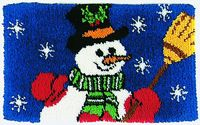 """Snowman 31"""" x 18"""" (78.7x45.7 cm) rug kit comes complete with stamped 3.3 mesh latch hook canvas, pre-cut yarn is 2 x 3 ply acrylic rug yarn (equivalent to 6 ply) and complete instructions."""