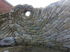 Spiral stone wall via amazing views