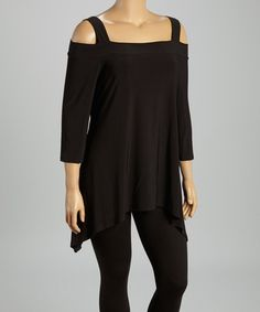 Another great find on #zulily! Black Cutout Sidetail Tunic - Women #zulilyfinds