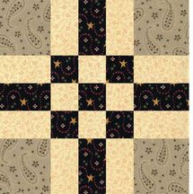 Center Nine Patch is an easy quilt block pattern that you can customize by shifting the color and contrast of its patches. Quilt examples are included.