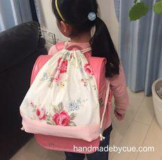 体操着袋の作り方、巾着リュックならランドセルの上から背負える   ハンドメイドで楽しく子育て handmadeby.cue