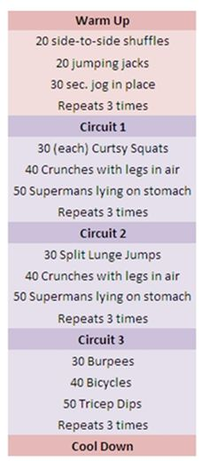 Several at home workouts from Comfy and Confident.  Good options for working out while traveling.