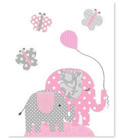 Gray and Pink Elephant Nursery Wall Art by SweetPeaNurseryArt