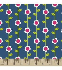 Snuggle Flannel Fabric- Flower Stripe Navy