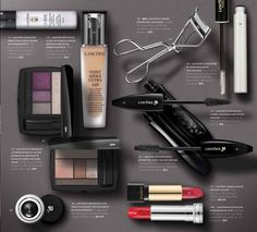 Photoshop composite for Sephora direct mail: Allison Milmoe. Image created from individual overhead, silhouetted product shots. #beauty #lancome #teintidole #mascara #lipstick