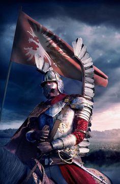 Husar, the famous Polish cavalry. Military Art, Military History, Arte Assassins Creed, Polish Tattoos, Patriotic Posters, Medieval, Poland History, Knight Art, Knights Templar