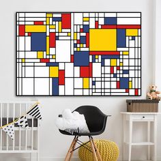 Abstract Canvas Wall Art, Framed Canvas Prints, Wall Canvas, Wall Art Prints, Modern Pictures, Wall Art Pictures, Mondrian, Art Wall Kids, Modern Wall Art
