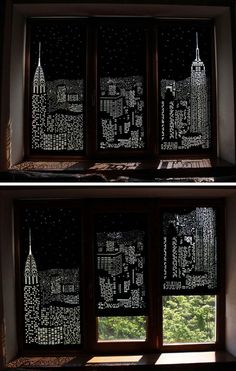 Ukrainian design company, HoleRoll have developed a collection of roller blinds that black out daylight and provide an artistic city skyline view.