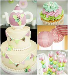 Second Birthday Tea Party via Kara's Party Ideas! Printables, cakes, decor, recipes, and more! KarasPartyIdeas.com #pastelteaparty #teaparty...