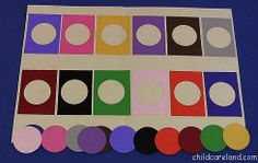 Color Matching Board. Cut out rectangles from different colored cardstock. Then cut a circle from the middle. Have them match the colors.