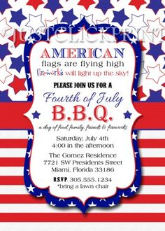 4th of July BBQ Red White Blue Fourth of July Printable Invitation