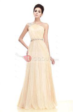 Glamoroso/Taline's Vestido de Noche Largo al Piso con Plisados de Un Hombro (Envío Gratuito)