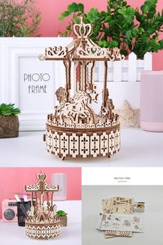 DIY Wooden Music Box #musicbox #kid #child #present Wooden Model Kits, Wooden Music Box, Merry Go Round, Wooden Diy, Presents, Place Card Holders, Child, Frame, Gifts