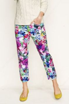 Women's Plus Size  Fit 2 Floral Chino Crop Pants from Lands' End
