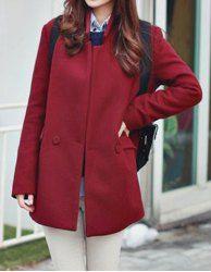 $18.99 Abrigo de Nuevo Modelo de Poliéster de Cintura ancha de Mangas Completo y Collar de pie y Color Sólido