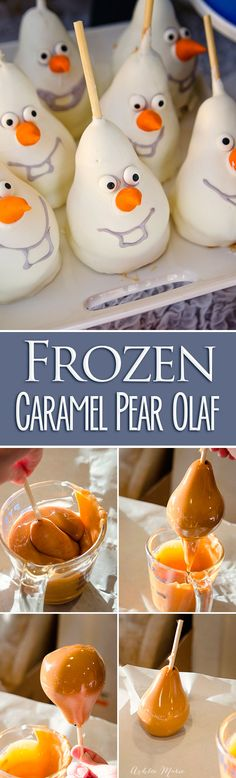 make your own edible olafs for your frozen party.  chocolate and caramel covered pears are delicious and just the right shape. full video tutorial of these popular treats
