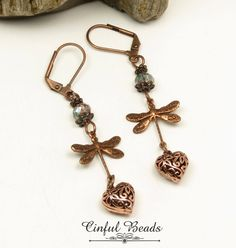 DRAGONFLY DANGLE EARRINGS-Antique Copper Dragonfly-Crystal Rondelle-Hippie Earrings-Bohemian-Dragonfly--Boho Earrings-Victorian Earrings by CinfulBeadCreations on Etsy