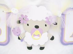 Lamb baby shower banner, sheep, baby shower, banner, lavender, yellow, white, its a girl. $35.00, via Etsy.
