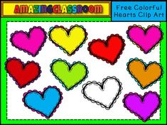 """This clip art set includes 10 high quality, transparent png images (meaning no white background around them).  This file includes 9 colored hearts and 1 digital stamp.  All images are high-quality and can be enlarged to an 8 1/2 x 11"""" piece of paper for printing without losing their quality."""