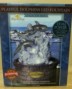 Newport Coast Playful Dolphins LED Fountain Collector Series - New