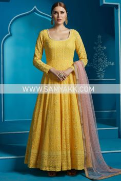 Yellow Wedding Dress, Yellow Dress, Indian Anarkali, Anarkali Suits, Pineapple Yellow, Flattering Outfits, Indian Embroidery, Prom Dresses, Formal Dresses