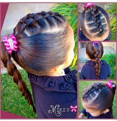 Hair style for little girls. Could do something similar with loop throughs