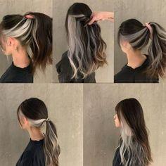 Two Color Hair, Hair Color Streaks, Hair Dye Colors, Hair Color For Black Hair, Peekaboo Hair Colors, Korean Hair Color, Hair Foils, Grey Blonde Hair, Dark Blue Hair