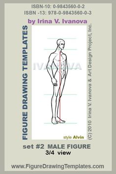 this male figure drawing template designed for drawing male body in 3/4 ( three quarters) view in static position.