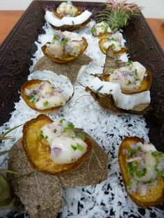 Scallop Ceviche on a Plantain Raft with Coconut, Lime, and Jalapeno