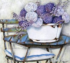 Stella Bruwer art white enamel tub with purple round flowers on slated round blue table. Camp chair with white with blue stripe Decoupage Vintage, Decoupage Paper, Vintage Paper, Stella Art, Flower Bird, Flower Canvas, Vintage Flowers, Vintage Prints, Canvas Art