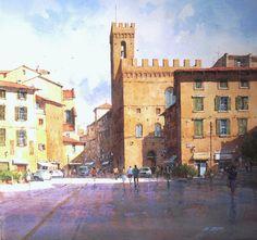 "Ian Ramsay Watercolors Piazza San Firenze, Florence, Italy 19"" x 20"" watercolor"