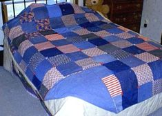 pictures of denim quilts | This quilt was made from squares of jeans with others squares of red ...