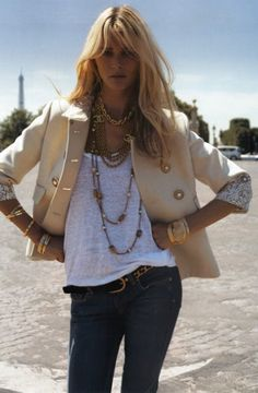 I would cut back on the accessories but this is my kind of outfit. Levis, tee, jacket. Love it!