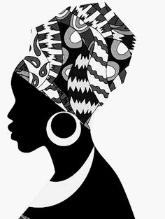 I turned this beautiful art from color to black & white. I like it a lot I turned this beautiful art Black Girl Art, Black Women Art, Black Art, Black And White, Black Woman Silhouette, Silhouette Art, Art Sketches, Art Drawings, Afrique Art