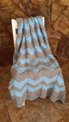 Items similar to Vintage Style Zig Zag Chevron Crochet Throw Blanket - Light Grey and Light Blue - cm / roughly inches on Etsy Zig Zag Crochet, Beautiful Crochet, Knitting Projects, Decorative Items, Light Blue, Baby Boy, Vintage Fashion, Crochet Blankets, Grey