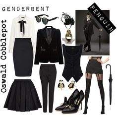 Genderbent Penguin Oswald Cobblepot by twoheartedravenclaw on Polyvore featuring Mode, H&M, Vivienne Westwood Anglomania, Givenchy, Balmain, ONLY, MANGO, Rupert Sanderson, Alexander McQueen and Juicy Couture