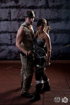 Lara Croft and Indiana Jones cosplay.