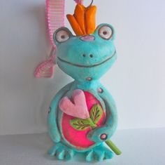 Three Blue Love Frogs folk art clay ornaments by indigotwin, $35.00