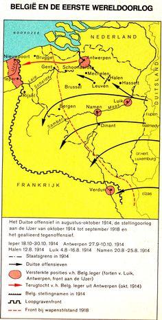 Overzicht van het offensief van Duitsland en het tegenoffensief van de Geallieerden.