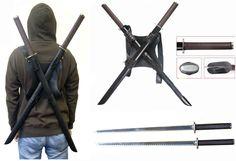 Dual Ninja Swords w/ Back Carrying Scabbard, $47.25 (http://www.realswordmaster.com/leonardo-dual-ninja-swords-w-back-carrying-scabbard/)