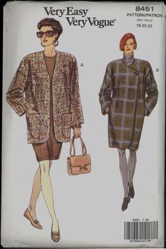 Uncut 1990s Coat Jacket Vogue 8451 Plus Size by VintagePatternsCo1