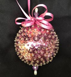 Christmas Tree Ornament Ball Hand Made Pink Sequined Crystal Beads Satin Ribbon 1960s Vintage