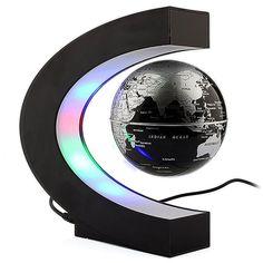 C-formet Svævende LED-globus - Sort