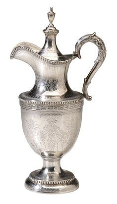 Bailey & Co. Coin Silver Wine Ewer  American, 19th century, urn form with bright-cut engraving, applied bead and Greek key decoration, covered-urn finial, pseudo hallmarks for Bailey & Co. (Philadelphia, Pennsylvania, working 1846-1878),