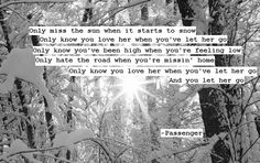 one of my favorite songs. Passenger - Let Her Go